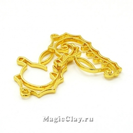 Рамка для кулона Морской Конек 39х23мм, цвет золото, 1шт