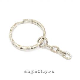 Основа для брелка с цепочкой, цвет серебро, 6шт