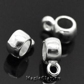 Бейл Гладкий 9х4мм, цвет серебро, 1шт