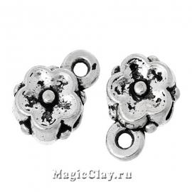Бейл Фиалка 9х6мм, цвет серебро, 6шт
