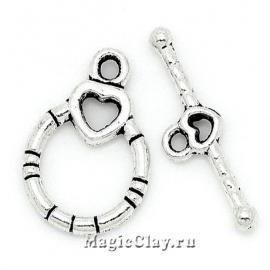 Замок Тоггл Кольцо с Сердцем, цвет серебро, 1шт