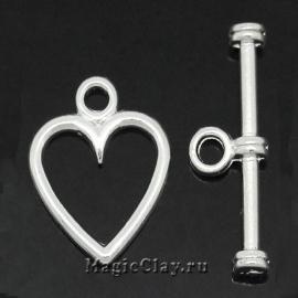 Замок Тоггл Сердце Амура, цвет серебро, 1шт