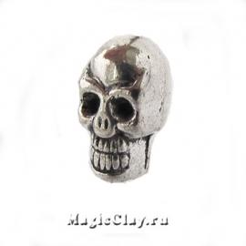 Бусина металлическая Череп Скелета 5х9мм, цвет серебро, 1шт