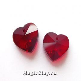 Бусины Сердце Алая Роза 10х10мм, 1шт