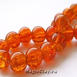 Бусины кракле Оранжевый Закат 8мм, 50шт