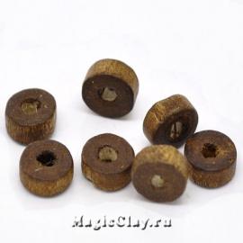 Бусины деревянные Макадамия 8мм, цвет кофе, 1уп (~100шт)
