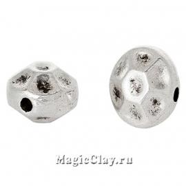 Бусина Колесо 7мм, цвет серебро, 5шт