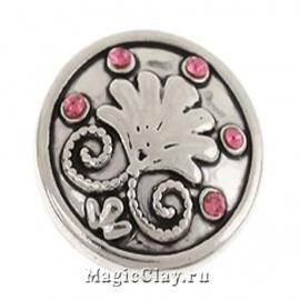 Кнопка Chunk Лилия, цвет серебро