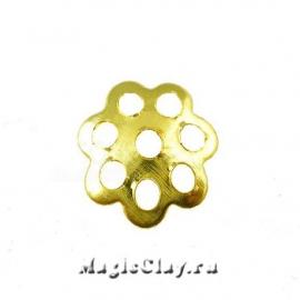 Шапочка для бусины Ажурная 6мм, цвет золото, 1уп(~80шт)