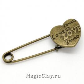 Булавка Сердце 55х19мм, цвет античная бронза, 1шт
