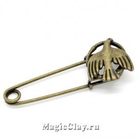 Булавка Птица 55х19мм, цвет античная бронза, 1шт