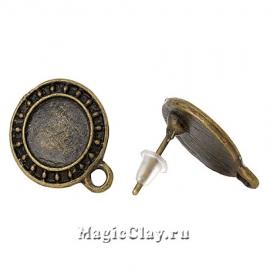 Основа для серег Медальон 17х14мм, цвет бронза, 1пара