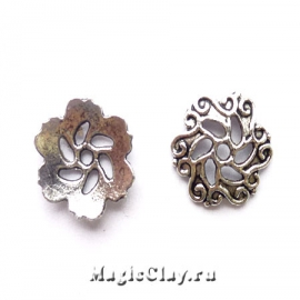 Шапочка для бусины Винтажный Цветок 13мм, цвет серебро, 6шт