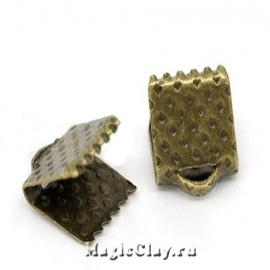Зажимы для лент 6х8мм, цвет античная бронза, 30шт
