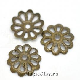 Шапочка для бусины Ажурная 8мм, цвет бронза, 1уп(~60шт)