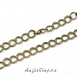Цепочка Панцирная звенья, 8х7мм, цвет античная бронза