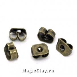 Заглушки для серег 5х4мм, цвет античная бронза, 30шт