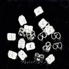 Заглушки для серег 5х4мм, цвет серебро светлое, 30шт