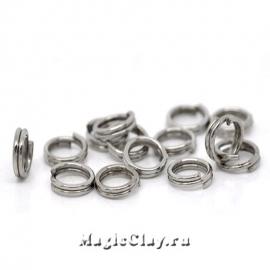 Колечки двойные, цвет серебро стальное 5мм, 1уп (~200шт)