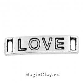 Коннектор прямоугольный Love 28х6мм, цвет серебро, 1шт