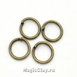 Колечки разъемные, цвет античная бронза 7х0,8мм, 1уп (~200шт)