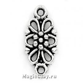 Коннектор Ажурный Цветок 16х8мм, цвет серебро, 10шт