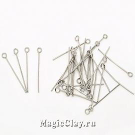 Пины с колечком, цвет серебро стальное 30х0,7мм, 1уп (450шт)