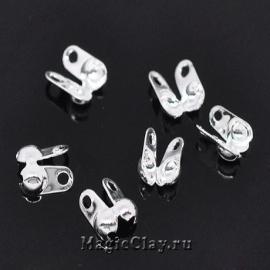 Концевики для цепочек с шариками 2,4мм, цвет серебро светлое, 30шт