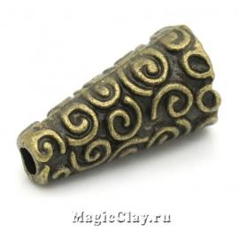 Шапочка для бусины Завитки 18х9мм, цвет античная бронза, 1шт