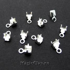 Концевики для цепочек со стразами 3,5мм, цвет серебро, 20шт
