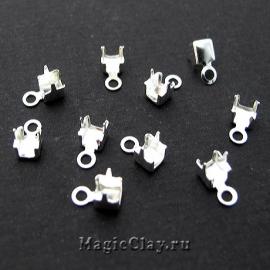 Концевики для цепочек со стразами 2,2мм, цвет серебро, 20шт