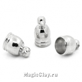 Концевик с ушком 9х6мм, цвет серебро стальное, 6шт