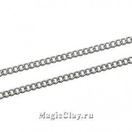 Цепочка Панцирная, звенья 2х1мм, цвет серебро стальное