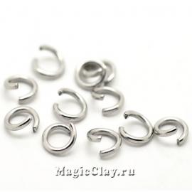 Колечки разъемные, цвет серебро стальное 4х0,7мм, 1уп (~200шт)