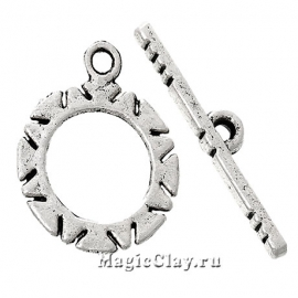 Замок Тоггл Солнышко, цвет серебро, 1шт