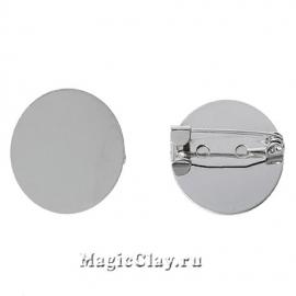 Основа для брошей и значков Платформа 20мм, цвет серебро, 1шт