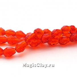 Бусины Капля Красный Кристалл 7х5мм, 1нить (~35шт)