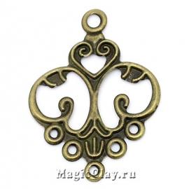 Филигрань Купель 55х42мм, цвет античная бронза, 5шт