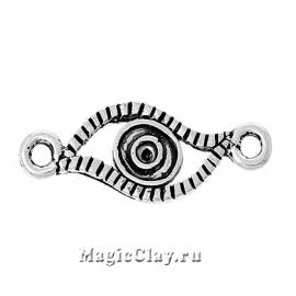 Коннектор Глаз Удачи малый 21х8мм, цвет серебро, 1шт