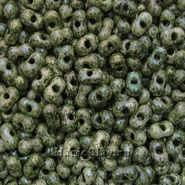 Бисер чешский Farfalle 6.5х3.2 Джет, 26359 Green