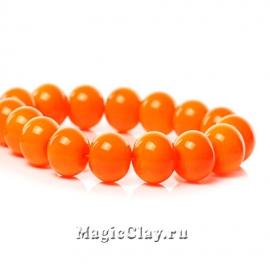 Бусины Глянец Оранжевый Яркий 10мм, 1нить (~20шт)