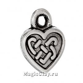 Подвеска Сердце Кельтский Узор 11х9мм, цвет серебро, 1шт