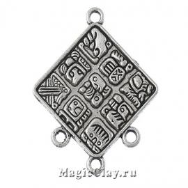 Коннектор Древние Майя 37х30мм, цвет серебро, 1шт
