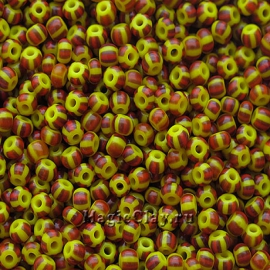 Бисер чешский 10/0 Непрозрачный, 83190 Yellow/Red/Brown, 41гр