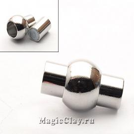 Замок Магнитный для шнуров 5мм отверстие, цвет серебро стальное, 1шт