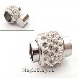 Замок Магнитный для шнуров, 6мм отв., со стразами, цвет серебро, 1шт