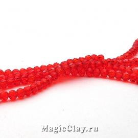 Бусины Граненые Красный Соблазн 4мм, 1нить (~100шт)