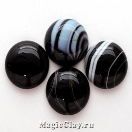Кабошон Агат Ботсвана Круг 14х5мм, цвет Черный