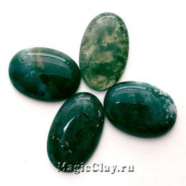 Кабошон Агат Моховой Овал 30х20х5мм цвет Зеленый
