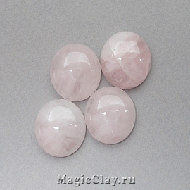 Кабошон Кварц Круг 18х7мм цвет Розовый